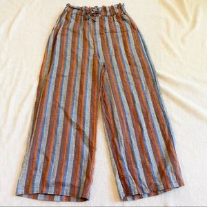 Easel Clothing Brown + Blue Striped Paperbag Pants